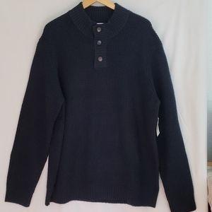 Mens Textured Button-Down Mock-Neck Sweater - XXL